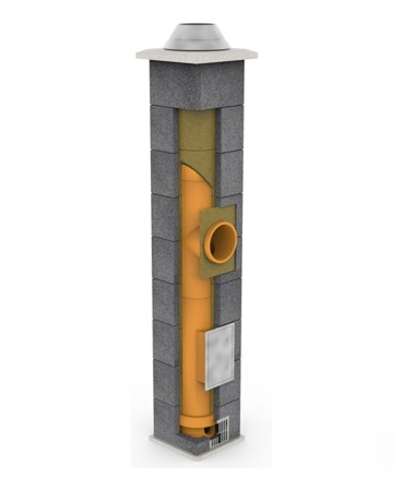 System kominowy KRUK UNIVERSAL 8M - bez wentylacji - trójnik 90°