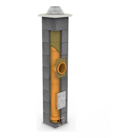 System kominowy KRUK UNIVERSAL 8M - potrójna wentylacja - trójnik 45°