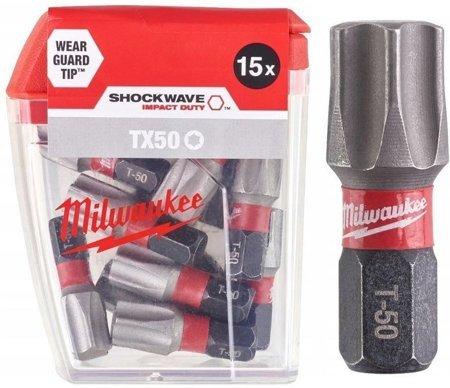 Bit udarowy MILWAUKEE SHOCKWAVE IMPACT DUTY TORX 25mm TX50 15szt